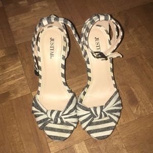 Fabulous blue and white striped high heels